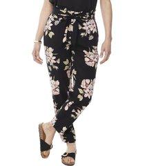 pantalón jogger negro flores mujer corona