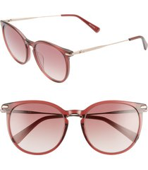 women's longchamp roseau 54mm round sunglasses - ruby/ brown