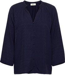 ellie top blouse lange mouwen blauw modström