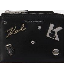 karl lagerfeld women's k/karl seven pins zip card holder - black