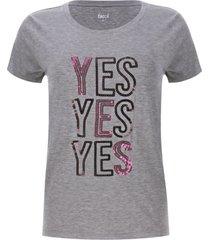 camiseta lentejuelas yes color gris, talla s