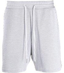 thom browne striped seersucker shorts - grey
