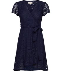 lace wrap dress jurk knielengte blauw michael kors
