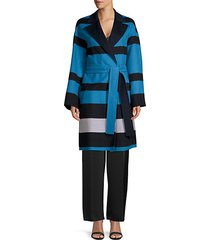 madras striped double-faced wrap coat