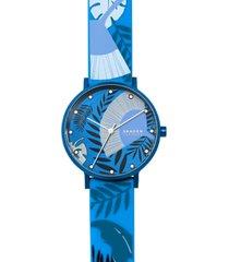 skagen women's aaren three-hand floral print blue silicone watch 36mm