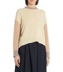 women's marni colorblock cashmere sweater, size 2 us - beige