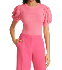 women's milly rib pointelle short sleeve sweater, size petite - pink