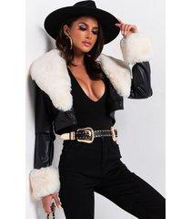 akira azalea wang fur trim giselle crop jacket in taupe