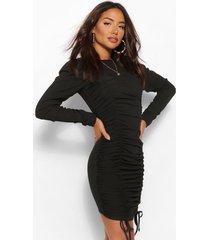 geplooide mini jurk met gekreukelde mouwen, zwart