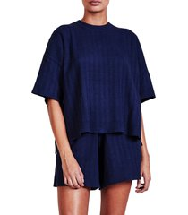 apiece apart oversize short sleeve sweater, size x-large in navy at nordstrom