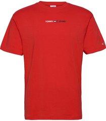 tjm linear logo tee t-shirts short-sleeved röd tommy jeans