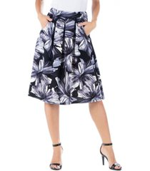women's plus size floral knee length pocket skirt