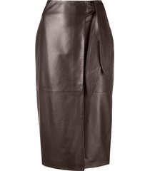 arma lambskin leather pencil skirt - brown