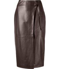 arma lambskin leather pencil skirt - brown