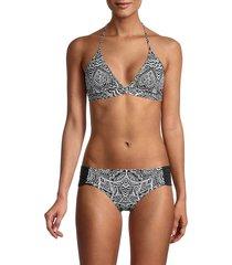 la blanca women's henna reversible bikini top - black white - size 12