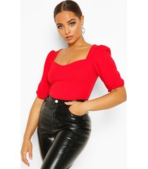 crepe sweetheart neck puff sleeve top, red