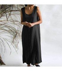 zanzea mujeres sin mangas de tiras botones vestido de sun larga de las señoras del chaleco del vestido plus -negro