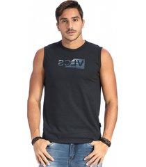camiseta vlcs regata machã£o gola redonda preta - preto - masculino - algodã£o - dafiti