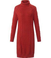 gebreide jurk van 100% katoen met lange mouwen van looxent bruin