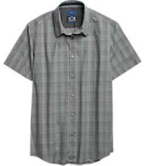 joe joseph abboud repreve® charcoal gray plaid short sleeve sport shirt