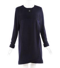 chanel blue wool crew neck dress blue sz: m