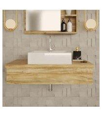 conjunto para banheiro bancada com cuba q39 quadrada city 800 carvalho