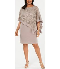 r & m richards plus size sequined poncho dress