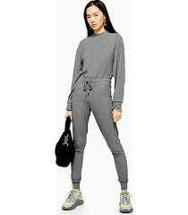 grey long sleeve sweatshirt jumpsuit - grey marl