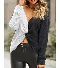camicetta casual da donna con nodo scollo a v patchwork a contrasto