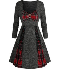 checked insert button lace up mini long sleeve dress