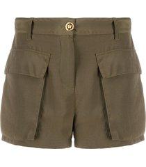 versace oversized pockets cargo shorts - green