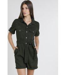 macaquinho de sarja feminino com bolsos manga curta verde militar