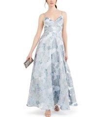eliza j petite metallic floral organza gown
