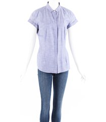 brunello cucinelli blue short sleeve button down top blue sz: custom