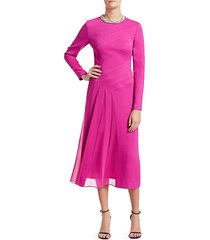 escada women's dahnisa jeweled neck midi dress - bright pink - size 36 (6)
