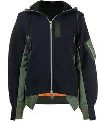 twill jacket mix zip front hoodie