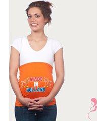 op en top zwanger zwangerschaps buikband made in holland twins oranje
