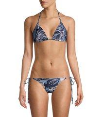 sam edelman women's printed bikini top - metal floral - size m
