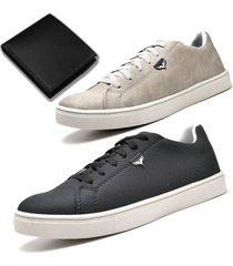 kit 02 sapatãªnis sapato casual juilli com carteira 171l preto - branco/preto - masculino - tãªxtil - dafiti