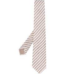 emporio armani lightweight striped tie - white