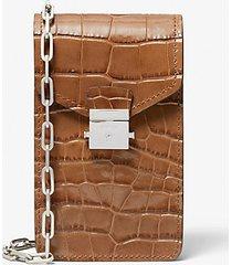 mk borsa a tracolla per smartphone gramercy in pelle stampa coccodrillo - marrone (marrone) - michael kors