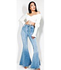 akira super nova girl high rise rhinestone flare jeans