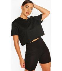 cropped t-shirt and shorts set, black