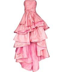 oscar de la renta tiered taffeta strapless gown - pink