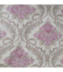 kit 3 rolos de papel de parede fwb lavã¡vel floral rosa fundo bege - bege/floral/rosa - dafiti