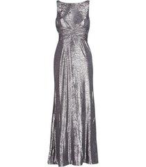 lange jurk lauren ralph lauren sleeveless evening dress gunmetal