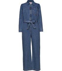 slfdana mid blue denim jumpsuit ex jumpsuit blauw selected femme