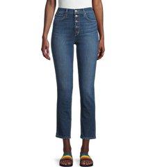 joe's jeans women's high-rise exposed button straight leg jeans - alger - size 23 (00)