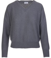 fedeli woman anthracite cashmere pullover with v-neck
