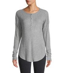 heroes & dreamers women's waffle-knit long-sleeve top - heather grey - size l